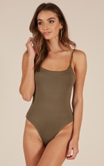 Heart Beat bodysuit in khaki