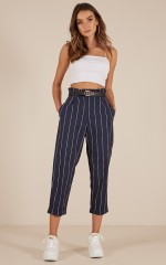 Catch My Attention pants in navy pin stripe