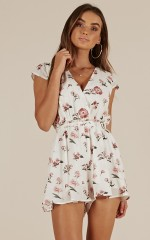 Unwritten Dreams playsuit in white floral