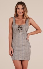 Too Strung Up dress in grey check