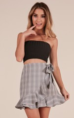 Missing Me skirt in grey check