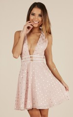 One Last Night dress in blush polkadot