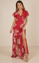 Whole New World Maxi dress in red floral