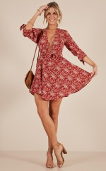No Problems dress in rust floral