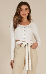 Tie On Love crop top in White