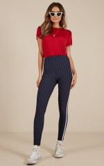 She Loves Control pants in navy pinstripe