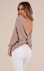 Twist And Shout Knit in Taupe
