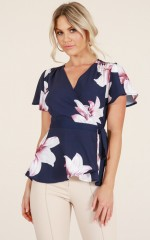 Two Lips top in navy floral