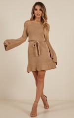 Mix It Up knit dress in mocha