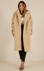 Reach Up High coat in beige teddy