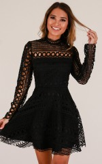 Made With Love dress in black crochet