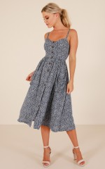 Apple City dress in navy print