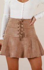 Like Crazy skirt in taupe suedette