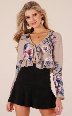 Floral Fever crop top in beige floral