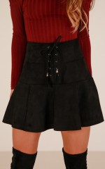 Like Crazy skirt in black suedette