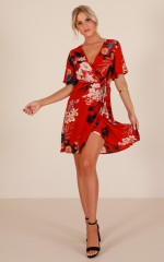 Staying Ahead dress in red floral