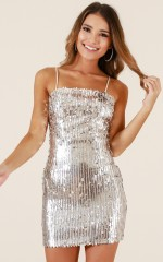 A Million Hearts dress in silver sequin