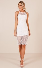 The Crossfire dress in white crochet