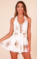 Make It Nice playsuit in white floral