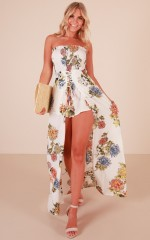 Reaching Out playsuit in white floral