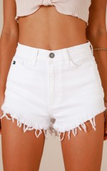 My Story shorts in white denim