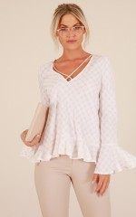 Perfect Morning top in blush check