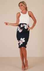 Claim It Back skirt in navy floral