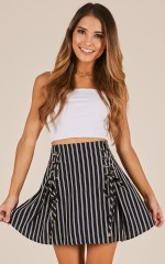 Last Train skirt in navy stripe