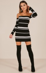 Like To Know You dress in black stripe