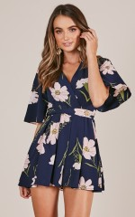 Floral Fields playsuit in navy floral