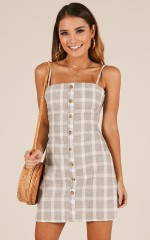 Shining Armour dress in grey check