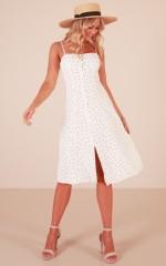 Come A Little Closer midi dress in white polkadot