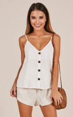 Some Hearts top in white linen look