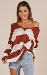 Coastal Envy knit in rust stripe