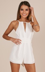 Calling Out playsuit in white