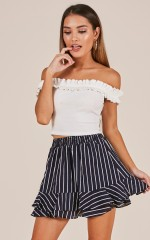 What About Love skirt in navy stripe