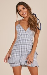 No Other Love dress in navy gingham