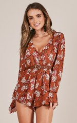 Spread Your Wings playsuit in rust floral