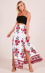 Rising Sun skirt in white floral