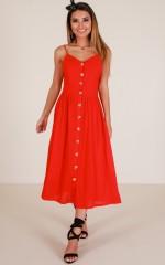 Sunrise Lover dress in red linen look