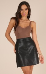 Only You Know skirt in black leatherette