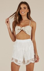Past Secrets Shorts in white lace