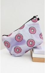 Donut cosmetics bag in holographic print