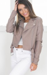 Through The Night jacket in taupe leatherette