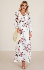 Long Lost maxi dress in white floral