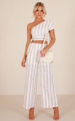 Happiness Runs two piece set in beige stripe