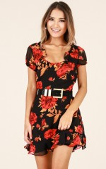 Every Rose dress in black floral