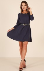 Moving Through dress in navy
