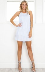 Loveheart Eyes dress in blue stripe