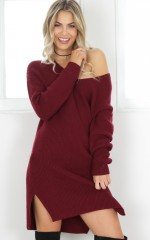 On The Floor knit dress in wine